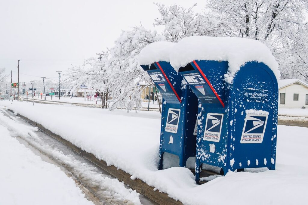 Post Office Drop Boxes in snow